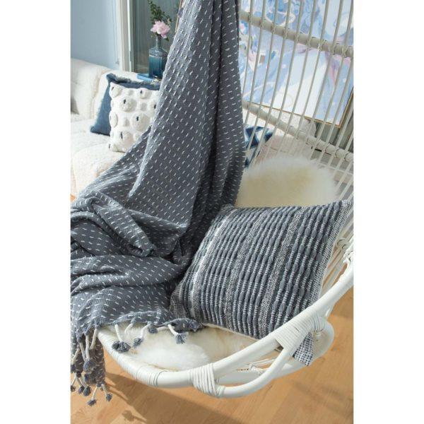 grey decorative pillows, throw blankets