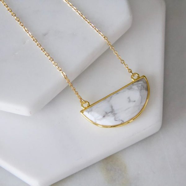 Faceted White Turquoise Semicircle Necklace