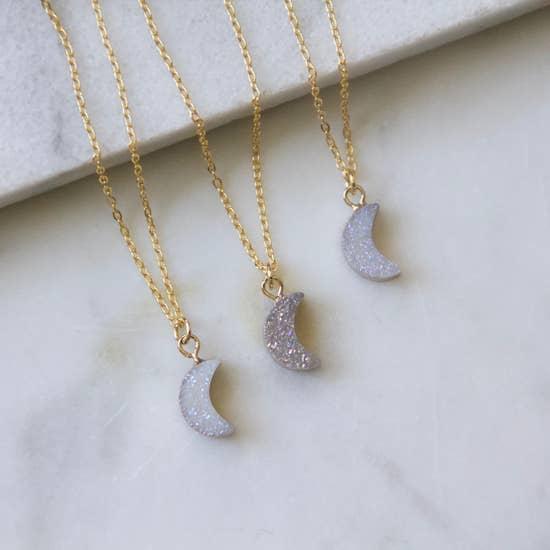 Tiny Druzy Crescent Moon Necklace